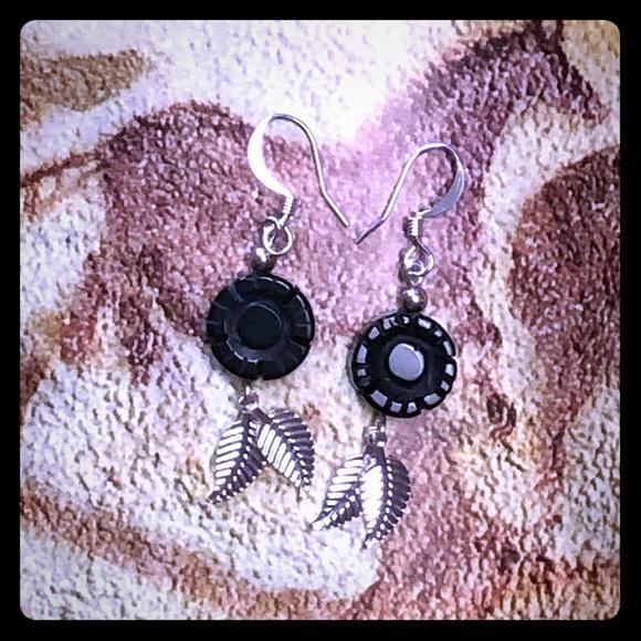 Onyx Flower Earrings